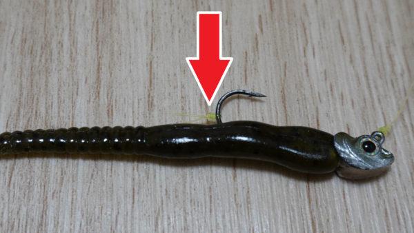 釣り針にワームのずれ防止の結び目
